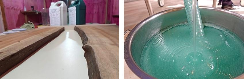 table bois resine epoxy